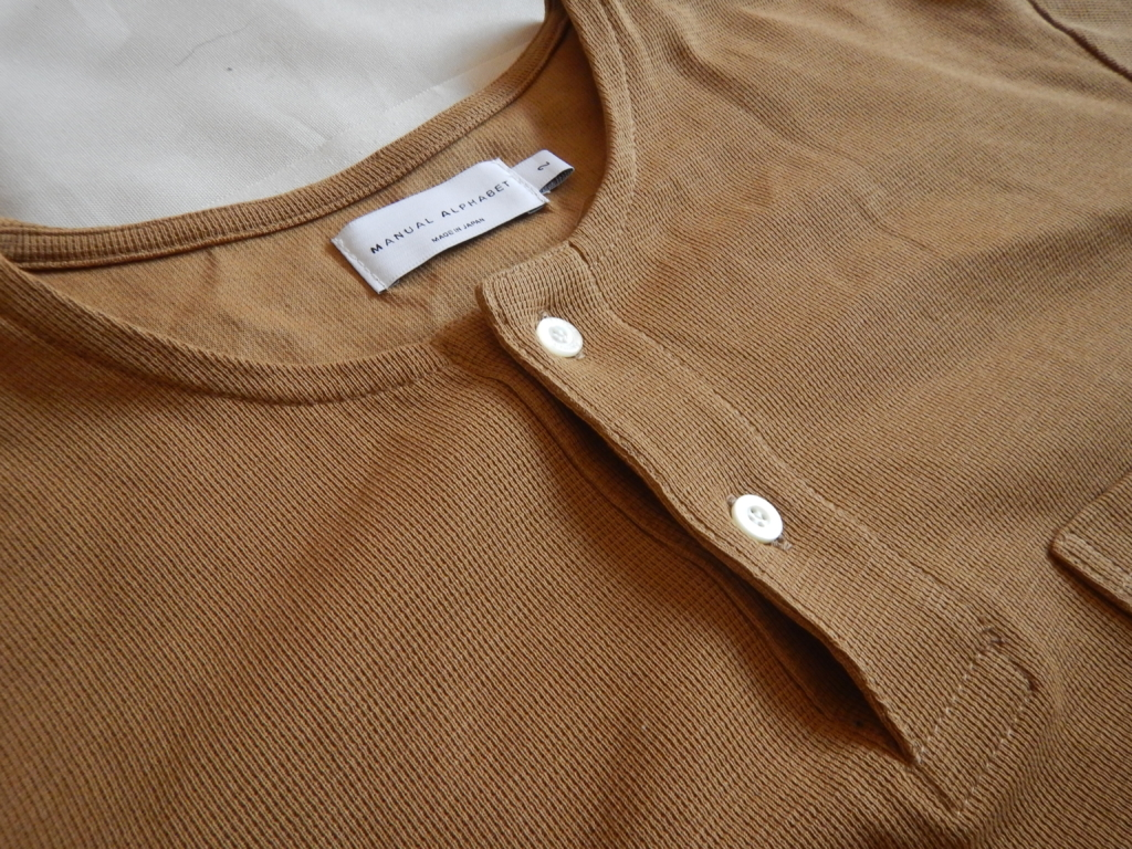Manual alphabet waffle henry neck T-shirts ginger マニュアルアルファベット ヘンリーネックTシャツ